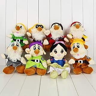 hkp 8pcs/Set Princess Snow White and The Seven Dwarfs Plush Dolls 25-29 cm Happy Sleepy Toys Gifts
