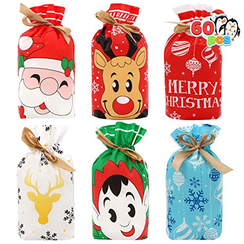 60 Christmas Candy Treat Bags, Goodies Plastic Drawstring Gift Bags for Party Snack Wrapping Gift Xmas Party Favor