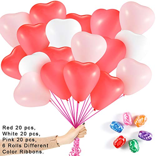 Why Should You Buy Heart Shape Latex Balloons for Valentines Day,60Pcs 12Inch White Red Pink 3 Dif...