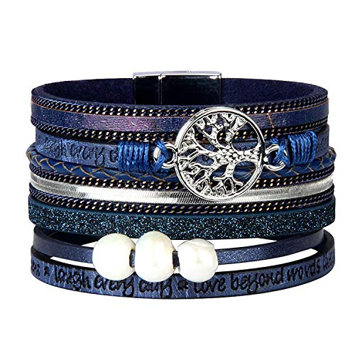 ISHOW Tree of Life Multilayer Leather Wrap Bracelets,Boho Handmade Gorgeous Cuff Bracelet with Magnetic Buckle,Casual Bangle for Women&Girl