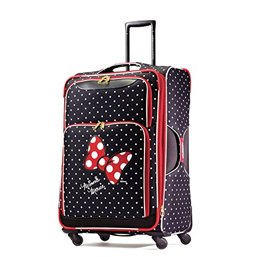 American Tourister Disney Softside Luggage with Spinner Wheels, Minnie Mouse Red Bow, Checked-Large 28-Inch