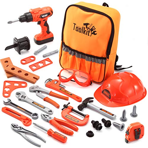 JOYIN 32 PCS Kids Construction Tool Toy Set Backpack of Tool Toys with Electric Power Drill Toy, Construction Helmet, Construction Tool Accessories for Cosntruction Pretend Play