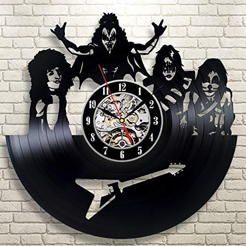 Relógio de parede ArtoriDesign18 KISS Band Wall Clock Vinyl Record KISS Wall Clock Vinyl KISS Merchandise Wall Clocks Exclusivo feito à mão Kiss Rock Band Home Decor Retro Clock Art Wall Clock