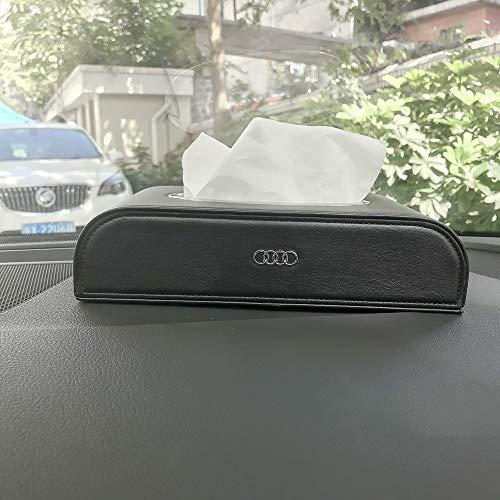 HUBUISH for Audi A1 A3 A4 A5 A6 A7 A8 Q5 Q7 R8 S5 S7 Q6 RS Series car Logo PU Leather Tissue Box, Napkin Holder, armrest and Back seat Tissue Box(Black)