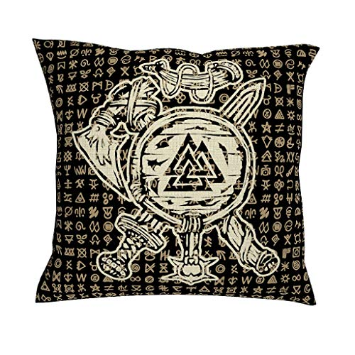 CCMugshop Scandinavisch vikingschild zwaard bijl valknut tattoo print katoen linnen decoratief werp kussenslopen vintage vierkant kussenhoes voor sofa geschenken