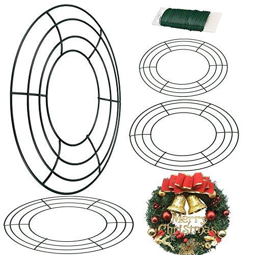 AFASOES 4 Stück Draht Kranz Drahtkranz mit 35 m Floristendraht Dunkelgrün Kranz Metall Wire Wreath Frame zum Basteln Kranz Rahmen für Weihnachten Silvester Valentines Party Dekoration (12/10/8 inch)