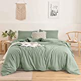 Nanko Queen Duvet Cover Set Sage Green Light Green 3pc 90x90 Luxury Microfiber Comforter Quilt Bedding Cover with Deco Buttons Zip Closure Ties - Modern Elegant Style for Men and Women Chambray Teen