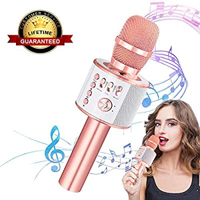 Ankuka Wireless Karaoke Microphones Machine, 4 in 1 Handheld Portable Bluetooth Home KTV Player for Kids, Superior Audio Quality for Singing & Recording, Compatible with Android & iOS (Rose Gold)