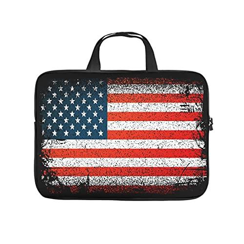 Borsa per computer portatile con bandiera americana, resistente alla polvere, per lavoro, lavoro, regali aziendali, bianco, 15 pollici,
