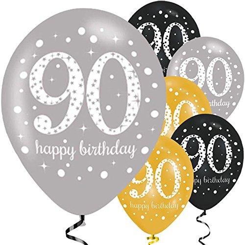 Feste Feiern Luftballon Deko 90. Geburtstag | 6 Teile Zahlenballon Ballon Gold Schwarz Silber metallic Helium Party Set Happy Birthday 90 Jubiläum
