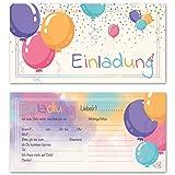 Any Age Art Luftballons 12 Einladungskarten - Kindergeburtstag Einladungen Kinder Mädchen Jungen Geburtstag Karten Feier Party Ballons (12 Einladungskarten)