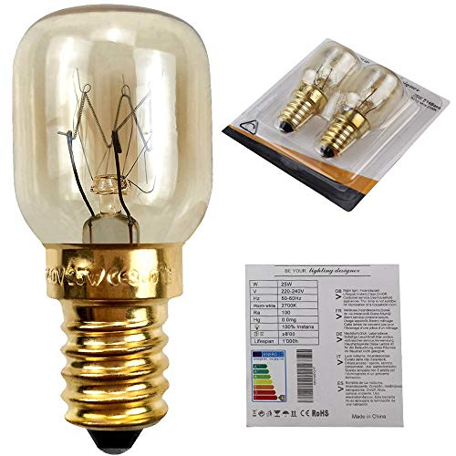 Bombilla Pygmy T25 de 25 W para horno de microondas, lámpara de sal, bombilla pequeña Edison E14s (2)