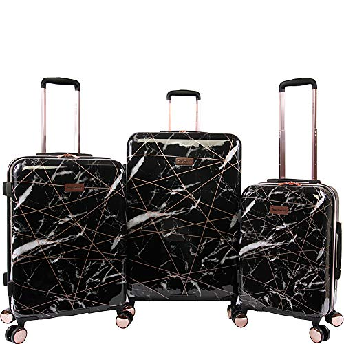 Juicy Couture Women's Vivian 3 Piece Hardside Spinner Luggage Set, Black Marble Web