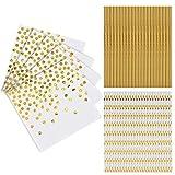 50 Pezzi Tovaglioli di Carta Bianca e Oro per Feste, 50 Pezzi Cannucce Biodegradabili Bianca e Oro per Decorazione della Festa di Compleanno, Anniversario di Matrimonio