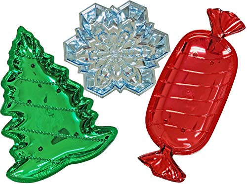 Christmas Winter Holiday Candy Dish Bundle of 3 Shiny Plastic Trays in Red Candy, Green Tree, and Blue Snowflake Theme Dishes