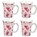 Gracie Bone China 10-Ounce Trumpet Mug, Pink Lucy 039 s Love, Set of 4 by Gracie Bone China by Coastline Imports