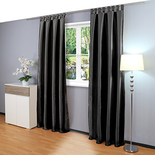Gräfenstayn® Figura - cortina de oscurecimiento con bucles - 140 x 245 cm (ancho x alto) - opaca - muchos colores atractivos - Öko-Tex Standard 100 (Negro)