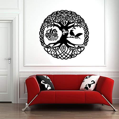 Vinyl Sticker Scandinavian Mythology World Tree Yggdrasil Ravens Runes Mural Decal Wall Art Decor EH1557