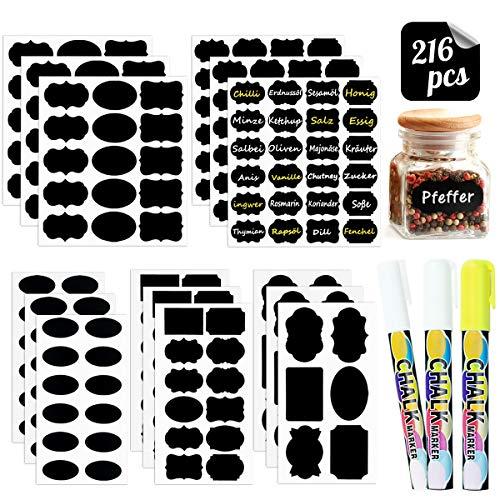 WEARXI 216 Etiketten Selbstklebend - Tafelfolie, Tafeletiketten, Tafelaufkleber, Beschriftungsetiketten, Gewürzetiketten, Klebeetiketten zum Beschriften für Marmeladen, Gewürzgläser, Vorratsgläser