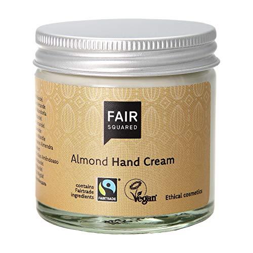 FAIR SQUARED Hand Creme Sensitive Mandel 50 ml Handcreme - Handpflege für empfindliche Haut - mit Fairtrade-Mandelöl - vegane Naturkosmetik - Zero Waste im Mehrweg-Glastiegel