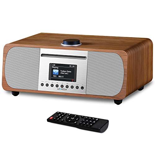 LEMEGA M5 + All-in-One 35W stereoluidspreker met internet, DAB + en FM digitale radio, cd-speler, Bluetooth, ingebouwde subwoofer, USB, Aux & TFT-kleurendisplay - walnoot