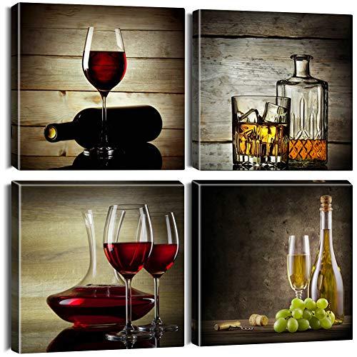 Artscope 4 Teilig Leinwandbilder mit Elegantes Weinglas Motiv Kunstdruck - Moderne Wandbild für Badezimmer Wohnzimmer Wanddekoration - 30 x 30 cm