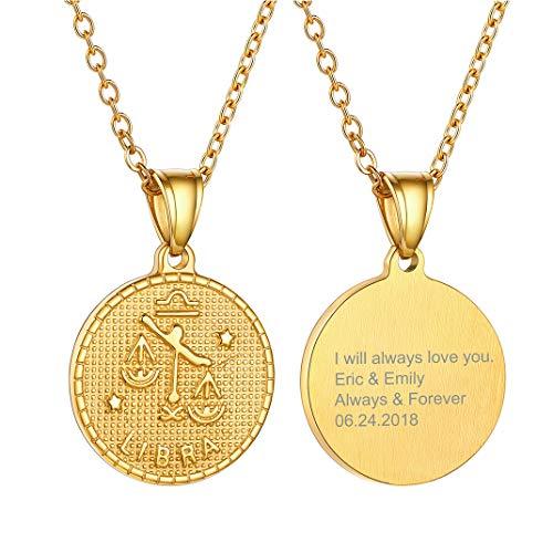 Medalla ovalada dorada de Libra