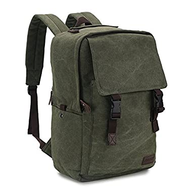 RAVUO Canvas Backpack for Men,15.6 17 inch Water Resistant Vintage Backpack Casual Rucksack Large Bookbag Daypacks for Travel Outdoor Women Army Green