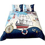 ADASMILE A & S Nautical Bedding Sailboat Bedding Set Queen Pirate Ship Duvet Cover Compass Anchor Map Pattern Comforter Cover Navy Coastal Ocean Printed Sailor Quilt Cover for Kids with 2 Pillowcases