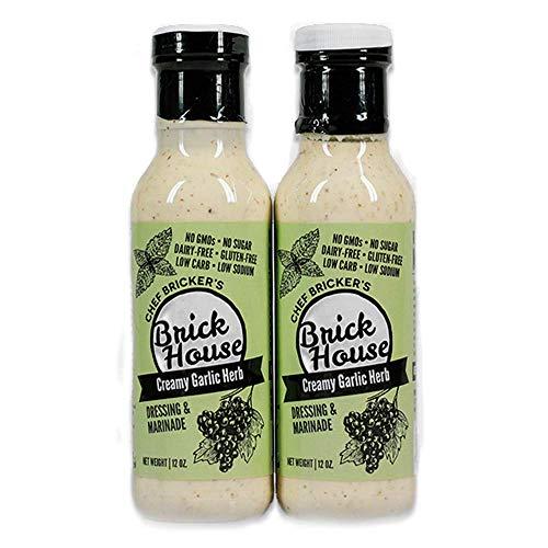 keto salad dressings Creamy Garlic Herb - Paleo / Keto Salad Dressing & Marinade made with Organic Stevia Leaves & NON-GMO Grapeseed Oil by Brick House Vinaigrettes. Low Sodium / No Sugar / Low Carb / Dairy Free (2-pack).
