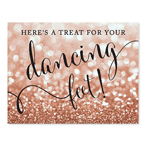 Andaz Press Wedding Party Signs, Glitzy Rose Gold Glitter, 8.5x11-inch, Here's a Treat for Your Dancing Feet! Flip Flop Sandals High Heels Shoes Dance Floor Reception Sign, 1-Pack, Bokeh
