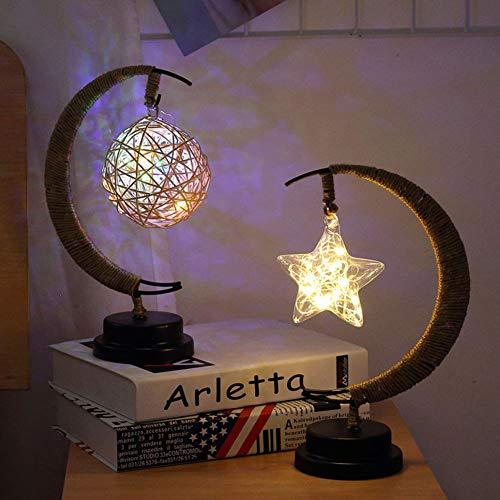 [LED Light]-Clearance Deals-Christmas Star Moon Ball Glass LED Night Light Hemp Rope Desk Lamp Home Decor,Christmas Lights