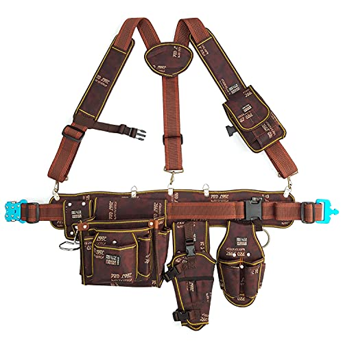 Tool Pouch Bag Work Belt Suspenders Electrician Maintenance Carpenter Technician Framer Organizer Back Support Hammer Holder Drill Holster Nail Pocket Smartphone Pocket Set Gifts for Men