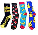 4 Pares Pokemon Calcetines Lindos calcetines de Algodón Unisex Pikachu
