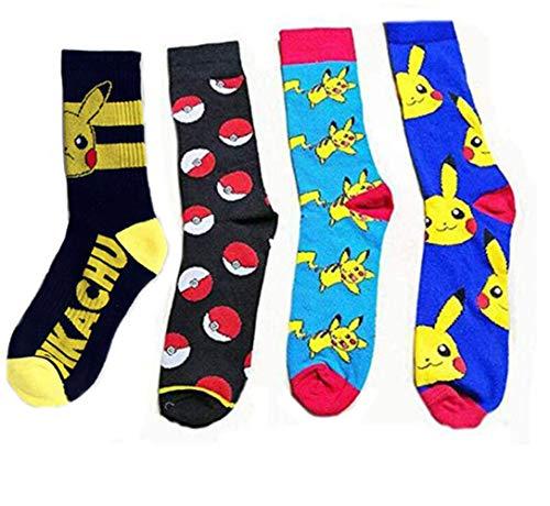 Jintong - 4 Paar Pokemon-Socken Herren Damen Cool Socks