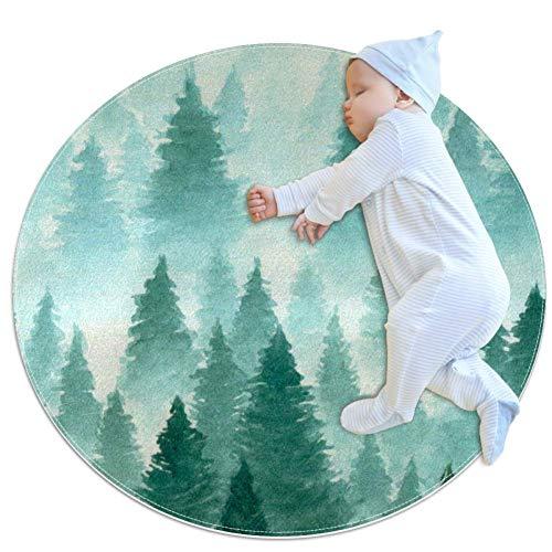 laire Daniel Forest In De Mist Grote Baby Tapijt voor Kwekerij Kids Ronde Warm Zachte Activiteit Mat Vloerbedekking Anti-slip voor Kinderen Slaapkamer, 27.6x27.6IN