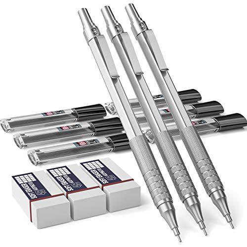 Nicpro 3 PCS 0.7 mm Mechanical Pencils Set, Metal Automatic Artists Drawing Pencil for With 6 Tubes HB Pencil Leads And 3 Erasers For Writing Drafting Sketching,Come With Case