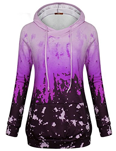 Gaharu Ladies Floral Sweatshirt, Youth Pullover Blouses Long Sleeve Going Out Ombre Drawstring Sportswear Hooded Hoodie Violet,M
