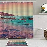 Ngkaglriap Juegos de Cortinas de baño con alfombras Antideslizantes, Rayos de Sol Coloridos con Nubes en la Costa del mar de Cielo,con 12 Ganchos