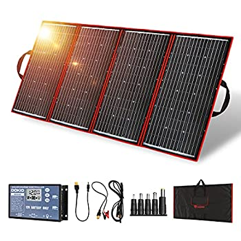 DOKIO 300 Watts 18 Volts Portable Foldable Solar Panel Monocrystalline with Charge Controller for 12v Battery Charging Car Battery AGM RV Camper Van