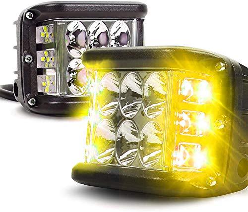 AIHOUSE Seitenschützen, LED-Pods Licht 36W Off Road Dual Side DRL mit Flash-Strobe-Funktion Fahren Flood Spot Cube Arbeitslichtleiste für LKW ATV-Boot,Gelb