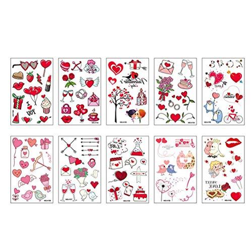 CLFYOU 10 pegatinas de corazón con dibujos animados para la cara o el brazo, para niños, regalo de boda, decoración, accesorios (12 × 7,6 × 0,9 cm)