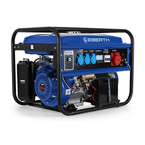 EBERTH 5500 Watt Benzin Stromerzeuger (E-Start, 13 PS Benzinmotor, 4-Takt, luftgekühlt, Ölmangelsicherung, Seilzugstart, Automatischer Voltregler AVR, 3-Phasen, 1x 400V, 3x 230V, 1x 12V, Voltmeter)