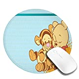 Cartoon Round Mouse Pad, Non-Slip Rubber Base Mousepad for Computer and Laptop, Cute Funny Gift Mouse Mat, Disney Winnie Pooh and Tigger Hug