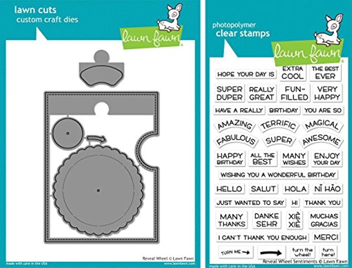 Lawn Fawn - Reveal Wheel and Reveal Wheel Sentiments - Stamp and Die Set - 2 Item Bundle