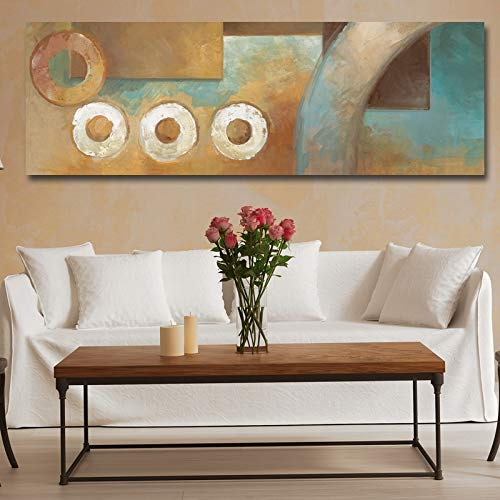 KWzEQ Impresión Redonda Moderna Abstracta Larga sobre Lienzo póster y decoración de la Sala de Estar Arte de la Pared del hogar,Pintura sin Marco,45x135cm