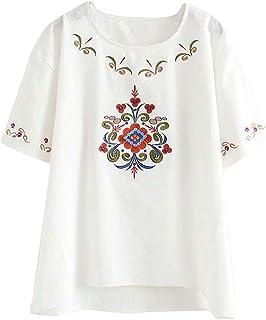 Mrs Duberess Blusa holgada de algodón y lino de gran tamaño para mujer, informal, holgada, con bordado