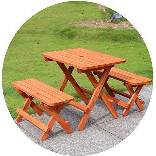 Brisk Tuintafels en stoelen van hout, draagbaar, opvouwbaar, met 2 krukken voor buiten, terras, vrije tijd, kat, lezen Wooda
