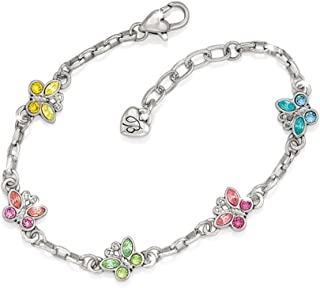 Sparkle Wings Multi Color Crystal Butterfly Silver Chain Bracelet