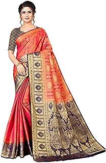 Neerav Exports Banarasi Kanjivaram Silk With Weaving Zari Butta Jacquard Saree (Red)